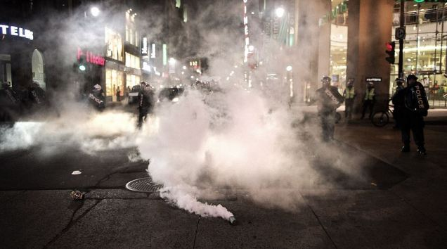 Riot Police Montreal Teargas Student Strike 2012 Nude Protest