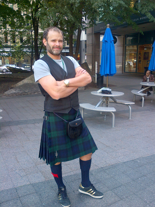 Jade Sambrook wearing the kilt with a t-shirt and 3 stripe Adidas