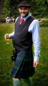 Jade Sambrook wearing a Black Watch tartan kilt at Stornoway