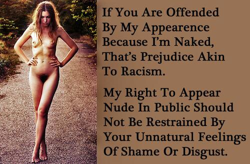 A poster from The Best of Naturist Freedom UK about taking offence to the naked human body