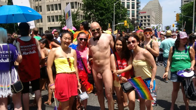 One of the many requests from women for a photo with Jade Sambrook at Toronto World Pride 2014.