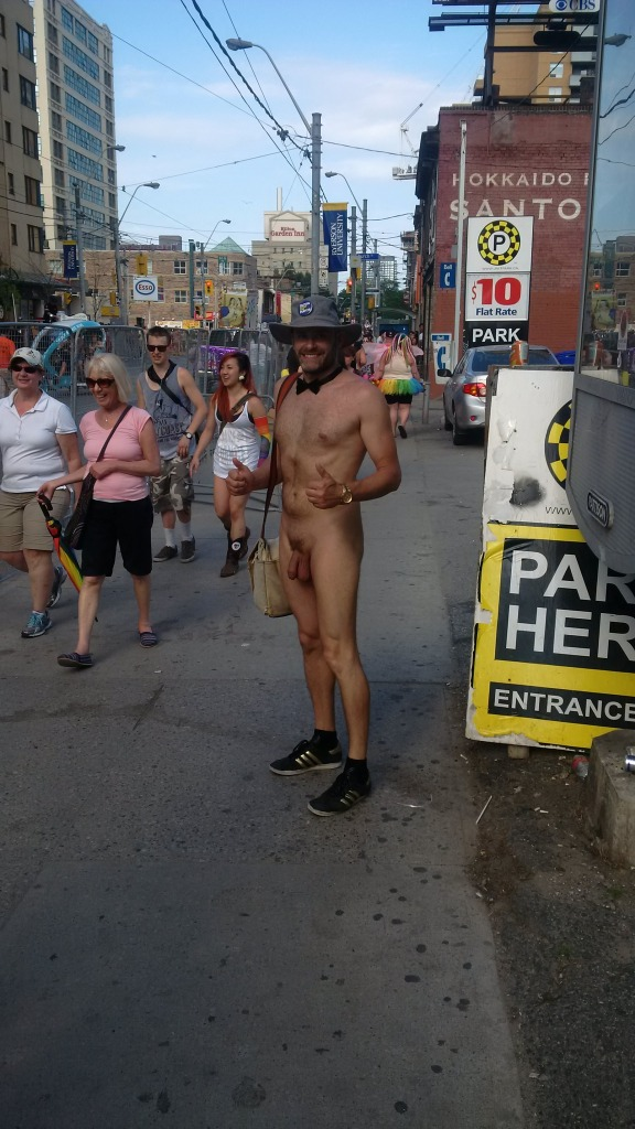 Jade Sambrook naked in public and heading to Pride festivities on Church Street after the Parade