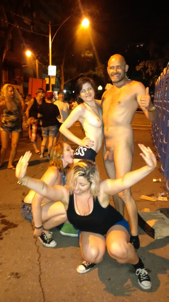 Another request from women for a photo with Jade Sambrook, nude in public, at the 2014 World Pride festivities on Church Street