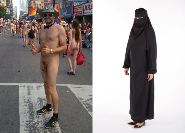 A photo of Jade Sambrook nude in public compared with a photo of a woman wearing a burka