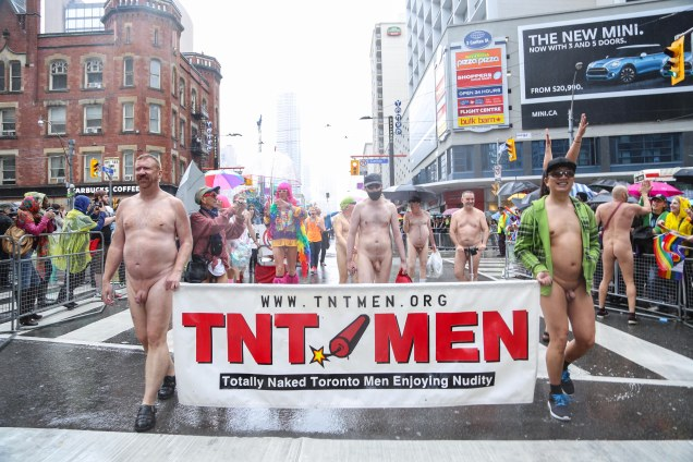 Jade Sambrook naked in public and high-fiving folks in the crowd at the 2015 Toronto Pride Parade.