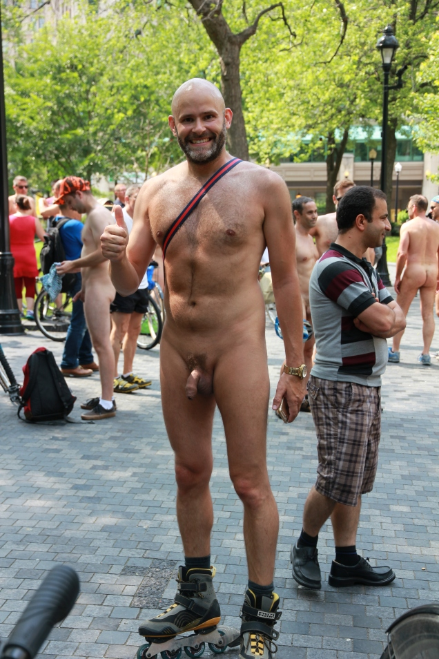 Jade Sambrook naked on rollerblades at the 2015 daytime edition of the World Naked Bike Ride in Montreal.