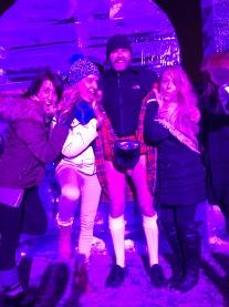 A group of ladies lifting Jade Sambrook's kilt