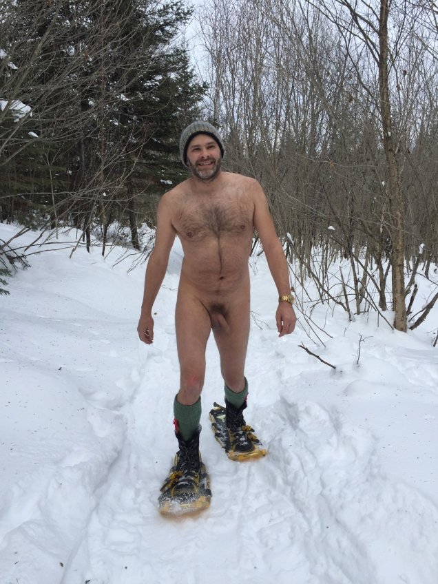 Jade Sambrook snowshoeing naked in the middle of winter