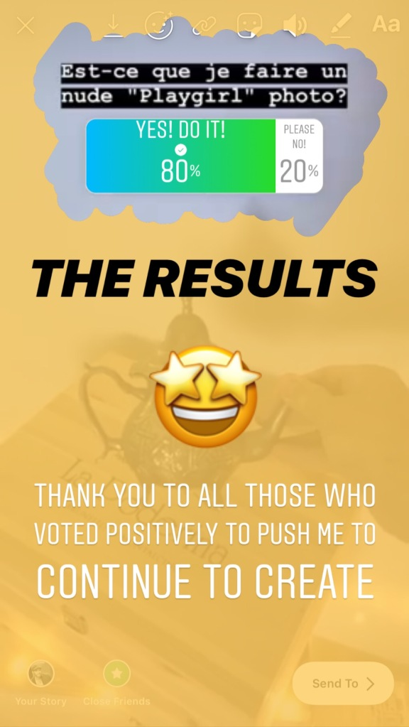 A screenshot of the Instagram Poll results from Jade Sambrook's Instagram Story asking if he should do a nude ''Playgirl'' style photo shoot