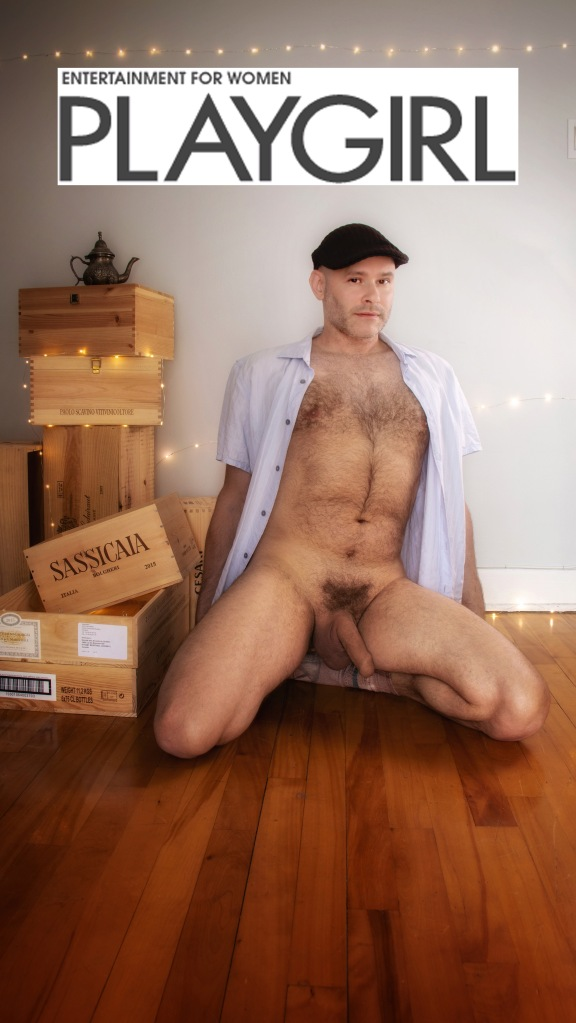 "Jade Sambrook naked on his knees while posing for a nude ""Playgirl"" style photo shoot."