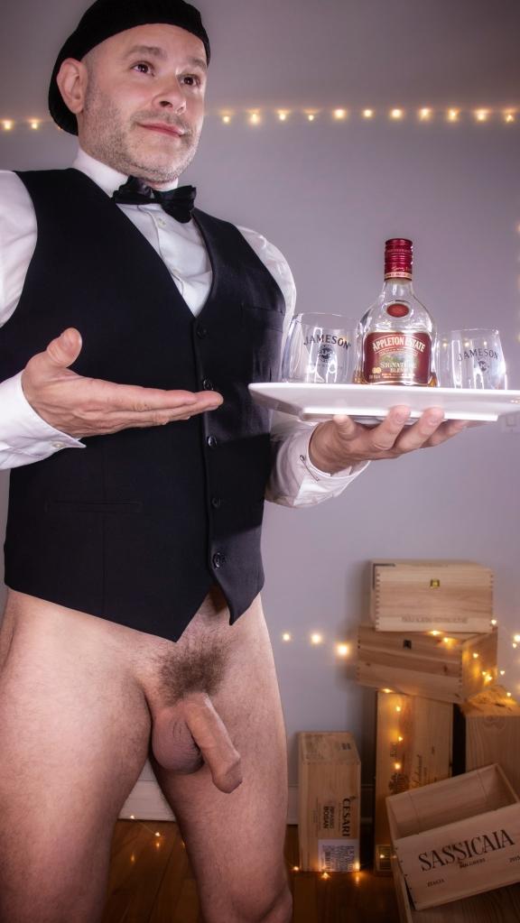 Jade Sambrook as a Bottomless Waiter without pants